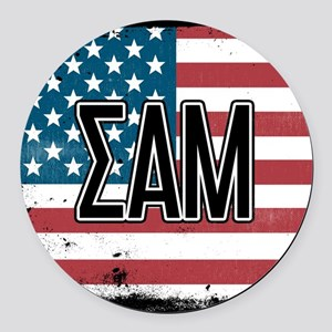 Sigma Alpha Mu US Flag Round Car Magnet